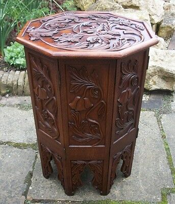 Large  Antique Octagonal Carved Folding  Anglo/ Indian   Side Table