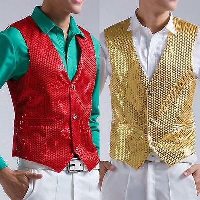 Sequin Vest Mens Waistcoat coat Dance Party Show Club Party Prom Wedding Jacket