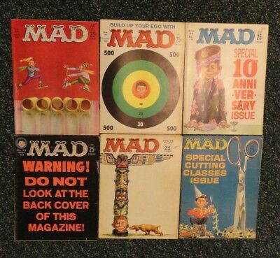 Mad Magazine Vintage Lot of 6 1962 Full Year Issues #70, #71, #72, #73, #74, #75