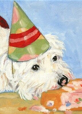 West Highland Terrier ACEO WESTIE PRINT Painting YUM, CAKE!  Dog Art  RANDALL