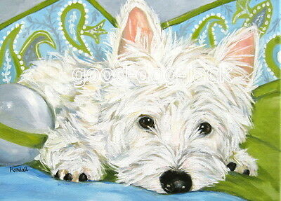 "West Highland Terrier ACEO WESTIE PRINT Painting ""PAISLEY"" Dog Art RANDALL"