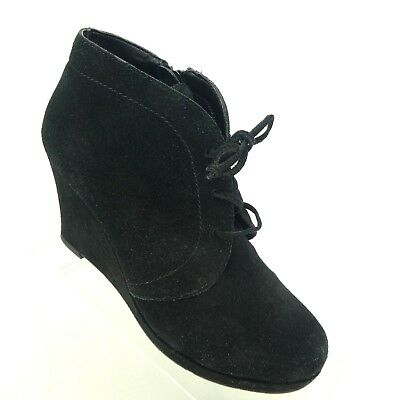 d902cb95a1b6 Dolce Vita Women s 7.5 Booties Zip Lace Up Black Suede Wedge Ankle Boots