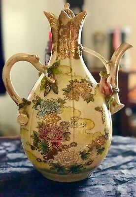 ANTIQUE Large Gorgeous Elegant Japanese Satsuma Moriage Teapot/Chocolate Pot