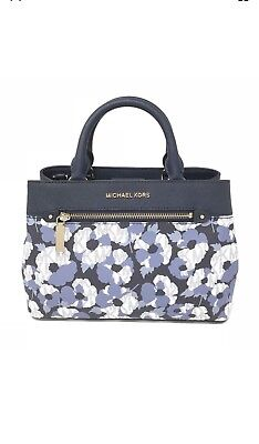 16e31a3ffc054b Nwt Michael Kors Floral Print Leather Hailee Xs Satchel Crossbody Bag In  Navy