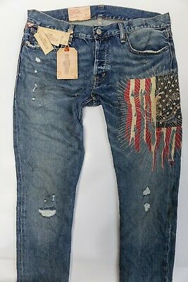 32fa1d54d NWT Ralph Lauren Polo Mens Denim   Supply Tapered FLAG Destroyed Jeans 33  ...