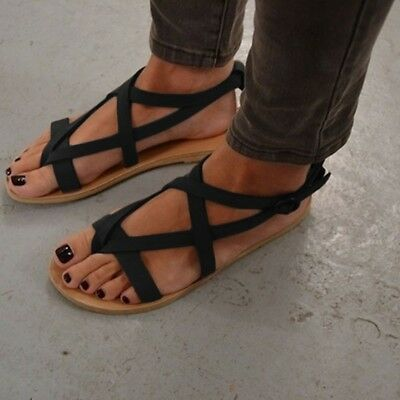 3a3f70172ec3c1 New Ladies Gladiator Sandals Womens Flat Strappy Fancy Summer Beach Shoes  Size