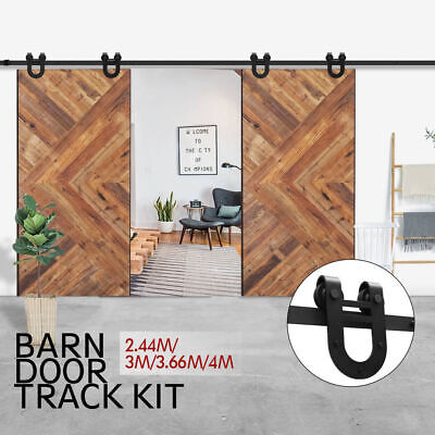 2.44/3/3.6/4M Rustic Classic Sliding Barn Double Door Hardware Track Kit Roller
