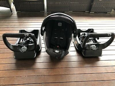 Safe-n-Sound UNITY Infant Carrier Capsule - Black Bubbles Car Seat x2 Bases