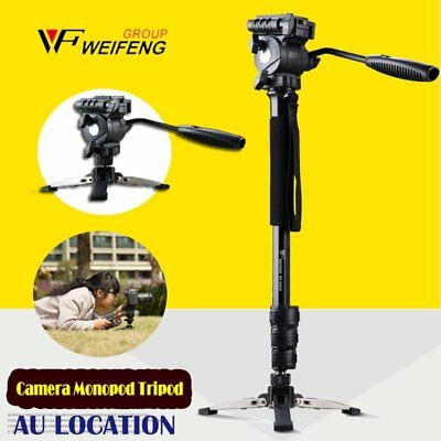 Extendable Monopod Tripod Unipod Fluid Head Holder Travel DSLR Camcorder Video -