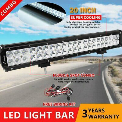 20inch CREE LED Light Bar Flood Spot Work Driving Offroad Truck 4x4 Lamp +Wire