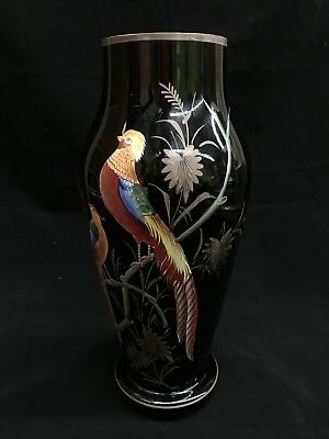 Art Deco Czechoslovakia Amethyst Glass Enamel & Gilt Bird Decorated Vase