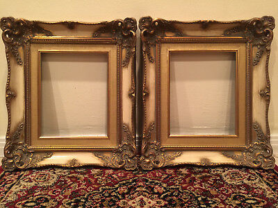Antique Vintage Old Ornate Gold White Painting Picture Frame Pair 8X10 10X8 8 10
