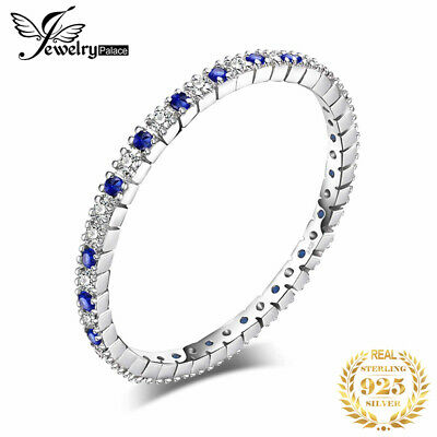 JewelryPalace Exquisite Round Created Blue Spinel Wedding Band Ring 925 Silver