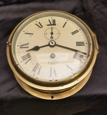 Vtg SMITHS EMPIRE NAUTICAL SHIP BULKHEAD CLOCK