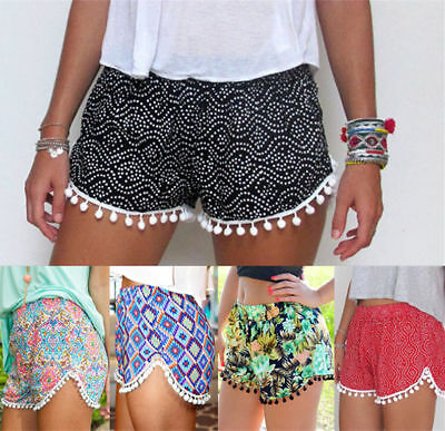 UK Summer Women Ladies High Waist Casual Floral Beach Hot Pants Shorts Size 6-14