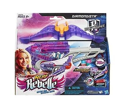 Nerf Rebelle Diamondista Crossbow Gun Shoots Up To 75FT 3 Darts Decoder Girls 8+