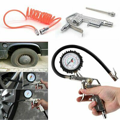 Air Compressor Recoil Hose Line Tool With Tyre Inflator Duster Gun 3 Piece Set