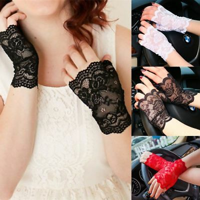 Women's Sexy Lady Bridal Wedding Party Dressy Lace Fingerless Gloves Mittens