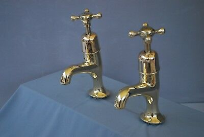 Old Brass Belfast Kitchen Sink Pillar Taps  Reclaimed & Fully Refurbed Kitchen