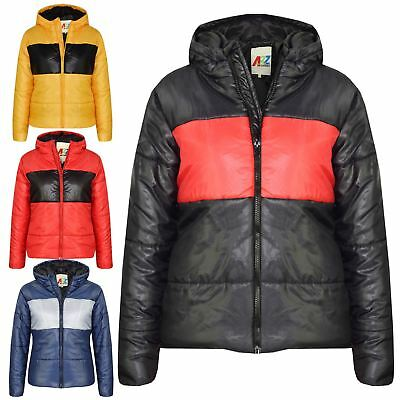 Kids Girls Boys Contrast Panel Padded Quilted Warm Jackets Coats 5-13 Years