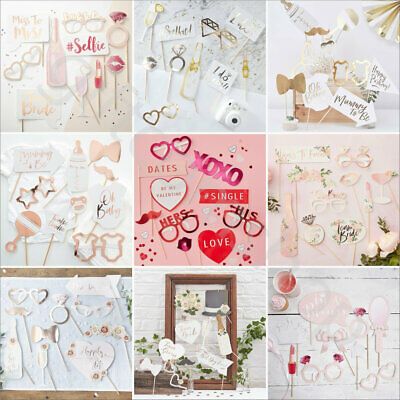 9/10 Pc Photo Booth Props Kit Wedding Baby Shower Team Bride Princess Hen Party
