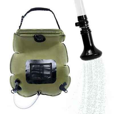 20L Solar Heating Premium Camping Shower Bag Removable Hose on/off Switchable YU