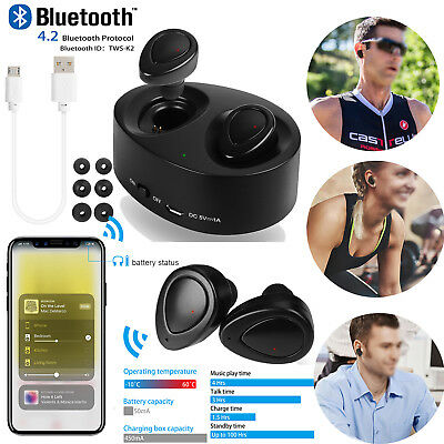 Mini True TWS Wireless Bluetooth Sport Stereo Earbuds Headset with Charging Dock