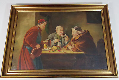 Large Collectable Original Oil Painting 'monk Squire Publican Signed Picture