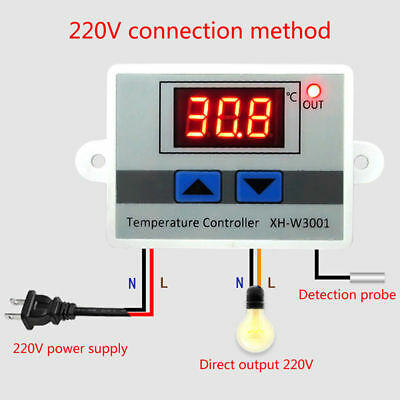 2X 220V Digital LED Temperature Controller 10A Thermostat Switch Probe Sensor