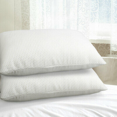 2x Visco Elastic Memory Foam Pillow Set Medium High Profile Bed Thick Large Pack