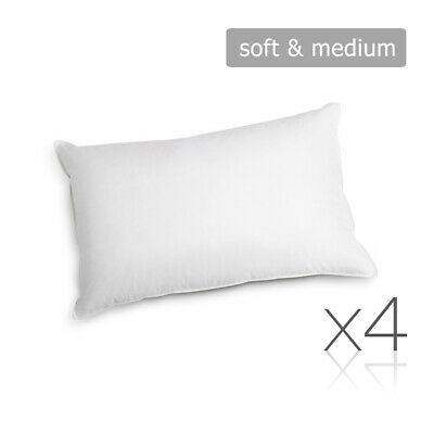 Set of 4 Family Pack Bed Pillows Soft & Medium Cotton Cover Standard Pillow