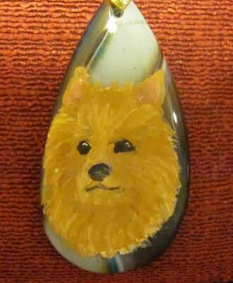 Australian Terrier hand painted on a tear drop Agate pendant/bead/necklace