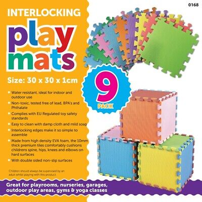9pcs Soft Interlocking EVA Foam Tile Gym Exercise Yoga Play Mats Kids Play Area