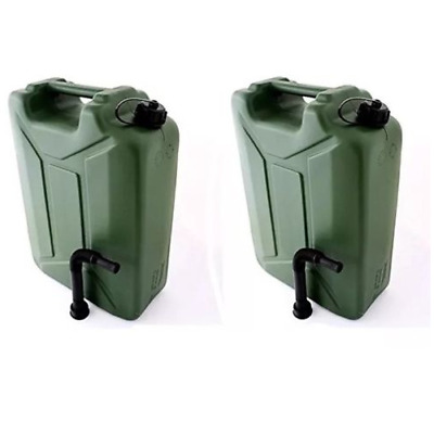2 X 20L Litre Plastic Fuel Army Jerrycan Petrol Fuel Water Container With Spout
