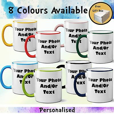 Personalised Coloured Rim Handle Mug Custom Your Photo Text Print Gift Free Box