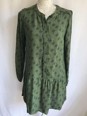 White Stuff Khaki And Navy Womens Top Girls Top Ladies Top Size 10 Long (031)