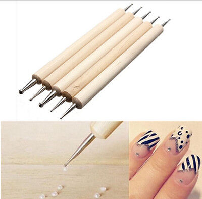NEW TWO WAYS 5 pz SPOT DOTTER DOTTING FRENCH NAIL ART PEN