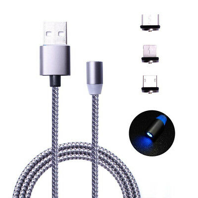 Detachable Magnetic Charging Cable Lightning Type-C Micro USB 3-in-1 Charger LED