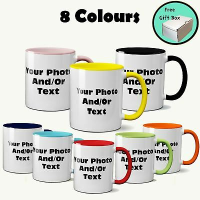 Personalised Print Coloured Handle Inner Mug Your Image Photo Text Gift Free Box