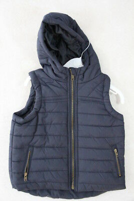 Baby Boy Size 00,1,2 Milky Winter Quilted Navy Hoodie Vest NWT