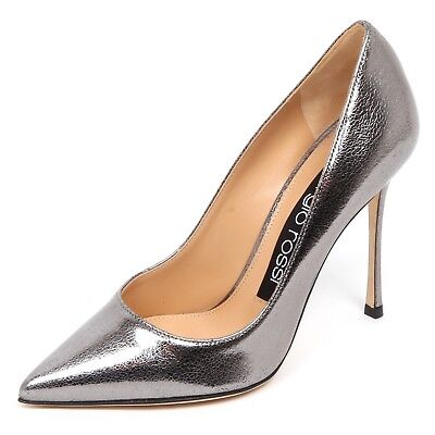 E4742 decollete donna grey lamé SERGIO ROSSI scarpe cracked effect shoe  woman 1d448e19b03
