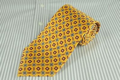 Jos A Bank Men's Tie Gold & Burgundy Geometric Silk Necktie 60 x 3.5 in.