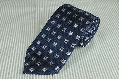 Jos A Bank Men's Tie Navy Purple & White Geometric Silk Necktie 60 x 3.5 in.