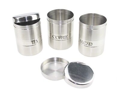 3PC Stainless Steel Tea Coffee Sugar Canister Set Jars Canisters Storage Silver