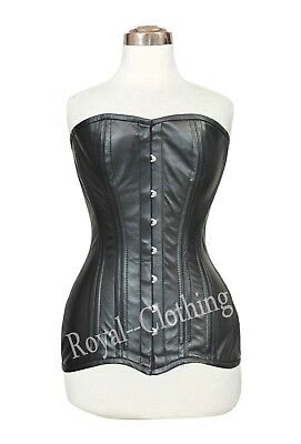 Heavy Duty Steel Boned Waist Training Over-Bust Genuine Leather Corset~9191
