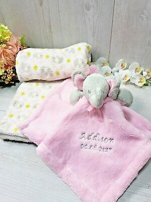 Baby Comforter Pink Elephant + Blanket Gift Set Baby Personalised Embroidered
