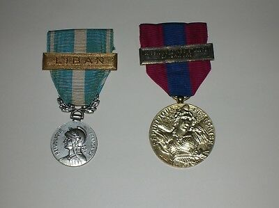 Pair Of French Medals - Overseas Service (Lebanon) & National Defence Medals