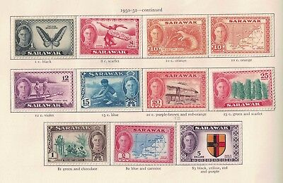 Sarawak 1950 G V1 Definitive Set S.G. 171-185 +186   Cat £121.75  Both 10 cents