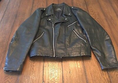 01df6b561 VINTAGE 80'S SEARS The Men's Store Black 100% Leather Motorcycle Jacket Sz  44