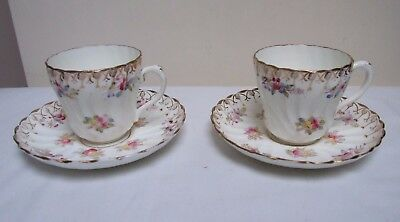 Victorian Wrythen China Duos Tea Cup & Saucer Hand Coloured Floral